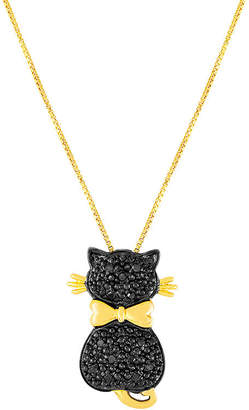 Black Diamond FINE JEWELRY 1/10 CT. T.W. Color-Enhanced Cat Pendant Necklace