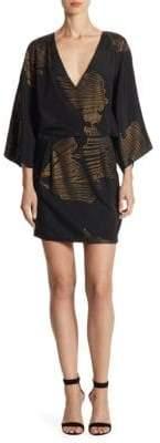 Halston Faux Wrap Mini Dress