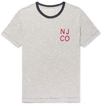 Nudie Jeans Roy Logo-Detailed Striped Organic Cotton-Jersey T-Shirt