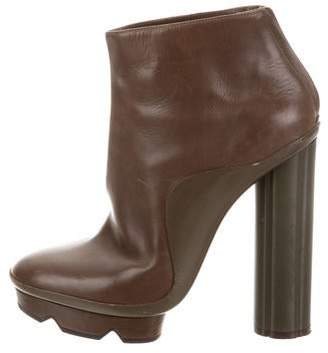 Salvatore Ferragamo Leather Platform Ankle Boots