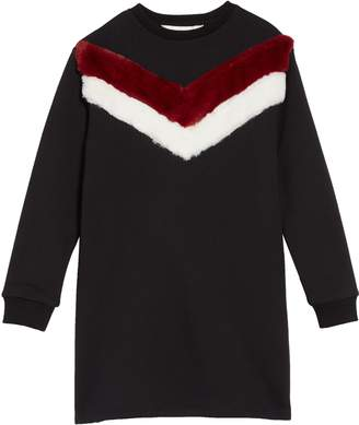 Little Eleven Paris Little ELEVENPARIS Faux Fur Sweatshirt Dress