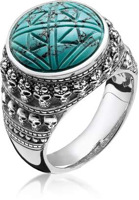 Thomas Sabo Blackened 925 Sterling Silver Ethnic Skulls Turquoise Ring