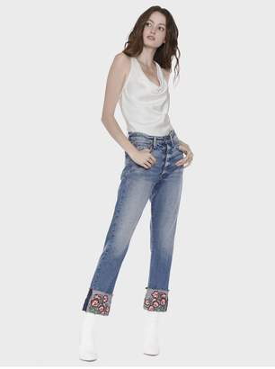 Alice + Olivia Amazing High Rise Embroidered Jean