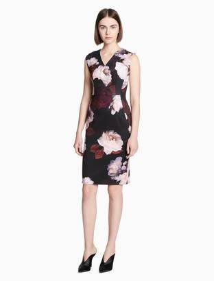 Calvin Klein floral v-neck sleeveless sheath dress