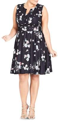 City Chic Plus Sleeveless Belted Floral-Print Dress
