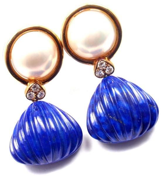 Christian Dior Christian Dior 18K Yellow Gold Diamond Lapis Mabe Pearl Earrings
