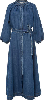 Co Denim Tie Midi Dress