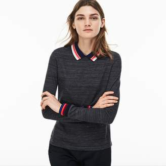 Lacoste Women's Slim Fit Polo With Striped Ribbing
