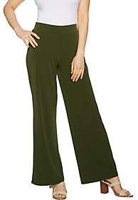 Susan Graver Petite Liquid Knit Wide Leg Pantswith Back Slits
