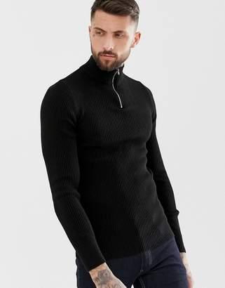 Asos Design DESIGN muscle fit ribbed half zip sweater in black