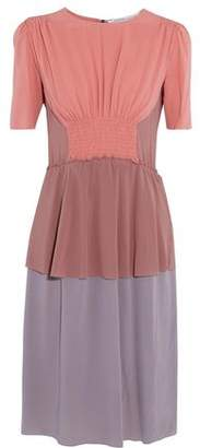 Agnona Smocked Color-Block Silk-Blend Dress