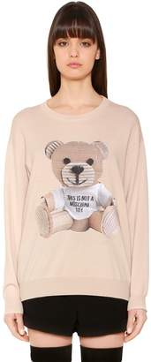 Moschino Wool Knit Sweater W/ Cardboard Bear