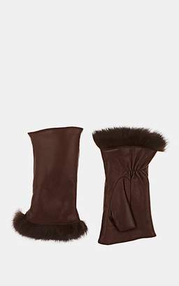 Barneys New York Women's Fur-Lined Nappa Leather Fingerless Gloves - Brown