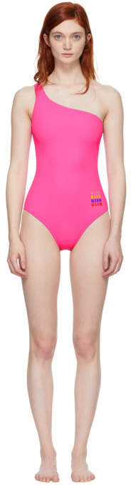 Pink Small Logo Single-shoulder Swimsuit