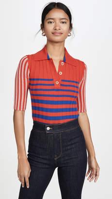 Sonia Rykiel Collared Striped Cashmere Knit