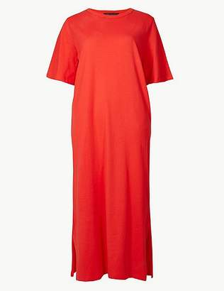 Marks and Spencer Pure Cotton Short Sleeve Shift Maxi Dress