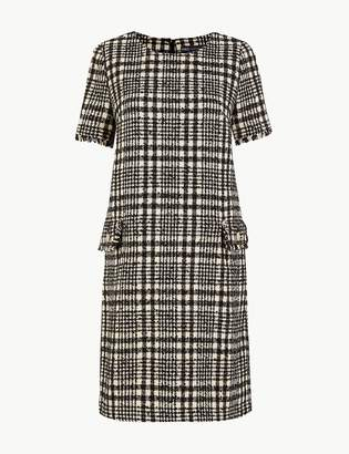 Marks and Spencer Tweed Checked Shift Mini Dress