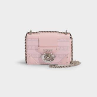 Balmain Ring Box Baby Bag In Pink Coated Canvas