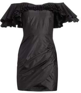Alessandra Rich Off-The-Shoulder Pleated& Ruched Silk Taffeta Butterfly Sheath Dress