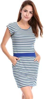 Allegra K Women's Stripes Round Neck Sleeveless Paneled Dress L White