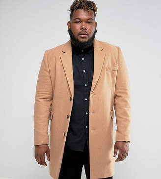 Asos Design PLUS Wool Mix Overcoat In Camel