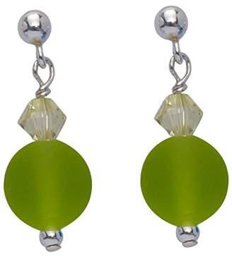 Swarovski Amanti Venezia Sterling Silver Lime Bead and Drop Earrings
