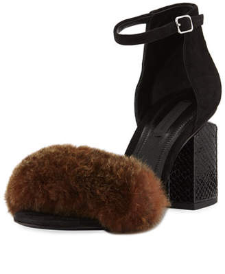 Alexander Wang Abby Fur Tilt-Heel City Sandals