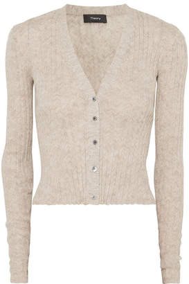 Theory Ribbed Mélange Alpaca-blend Cardigan - Beige