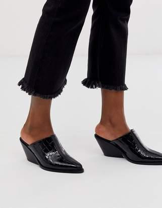 Asos Design DESIGN Scarlett western mid-heeled mules in black croc