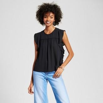 Eclair Women's Ruffle Side Blouse Black $39.99 thestylecure.com