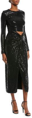 Michael Kors Sequined Cutout Long-Sleeve Cocktail Dress