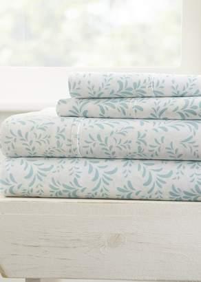 IENJOY HOME Home Spun Premium Ultra Burst of Vines Pattern 4-Piece California King Bed Sheet Set - Light Blue