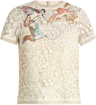 REDVALENTINO Bird-embroidered macramé lace top $614 thestylecure.com