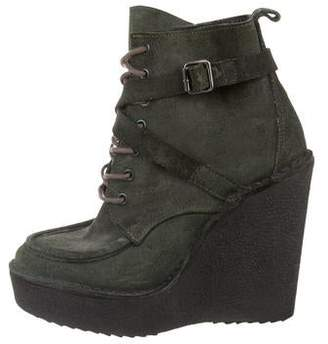 Pierre Hardy Suede Platform Wedge Ankle Boots