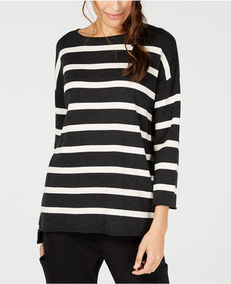 Eileen Fisher Striped Organic-Cotton Sweater