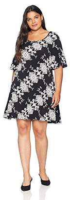 Ronni Nicole Women's Plus Size Ruffle Sleeve Printed Textured Shift Dress