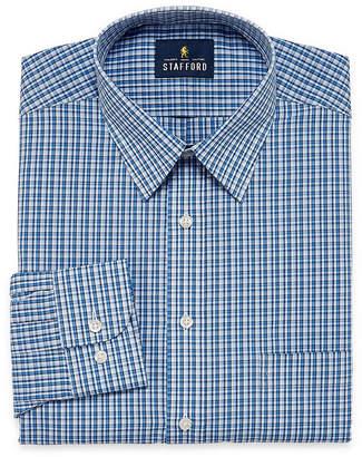 STAFFORD Stafford Travel Performance Super Shirt Long Sleeve Broadcloth Grid Dress Shirt