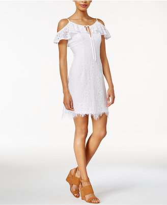 Bar Iii Off-The-Shoulder Lace Sheath Dress, Only at Macy's $79.50 thestylecure.com