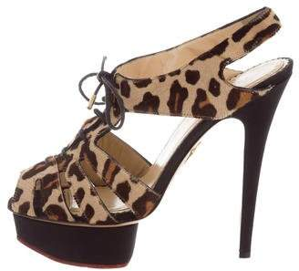 Charlotte Olympia Platform Ponyhair Sandals