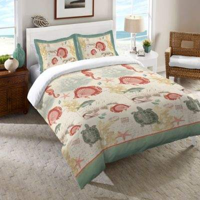 Laural Home® Seaside Postcard Standard Pillow Sham in Green