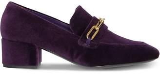 Burberry Link Detail Velvet Block-heel Loafers
