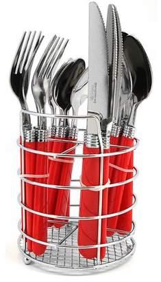 Laurie Gates Gibson Sensations II 16 pc Plastic Handle Flatware- Red