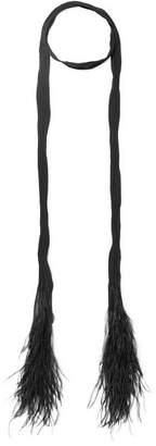 Saint Laurent Feather-trimmed Plissé Silk-chiffon Scarf - Black