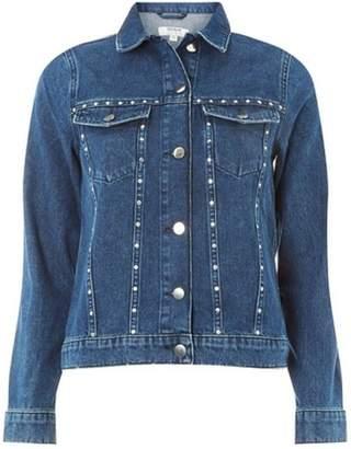 Dorothy Perkins Womens Blue Stud-Embellished Denim Jacket