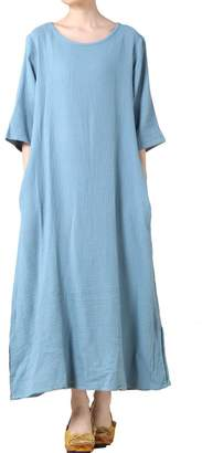 Mordenmiss Women's Summer Cotton Slit At Sides Dresses With Pockets