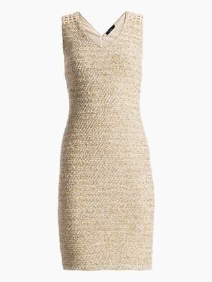 St. John Gilded Eyelash Knit V-Neck Dress