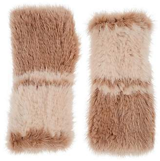 Barneys New York Women's Knitted Mink Fur Fingerless Mittens - Camel