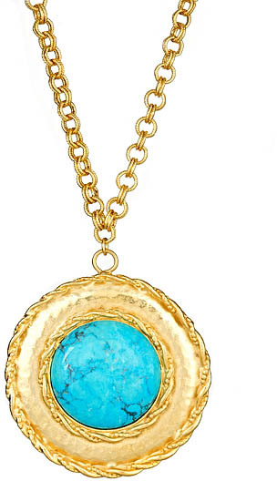 Yochi Turquoise and Gold Circle Necklace