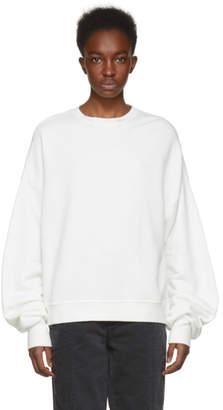 R 13 White Pleated Sleeve Sweatshirt