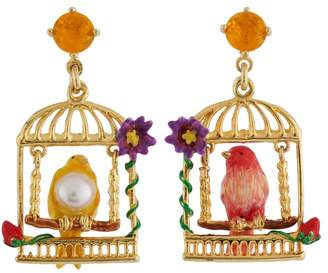 Les Nereides Lovely Canaries Swinging Bird In Cage Asymmetrical Earrings - Multicolor